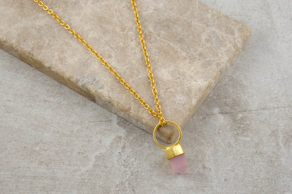 Krai Rose Quartz Gold Dipped Necklace