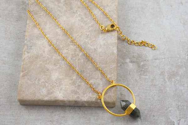 Jaya Labradorite Gold Plated Necklace