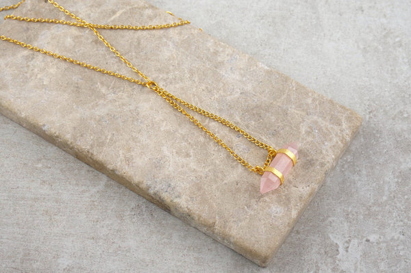Perlis Rose Quartz Gold Plated Necklace