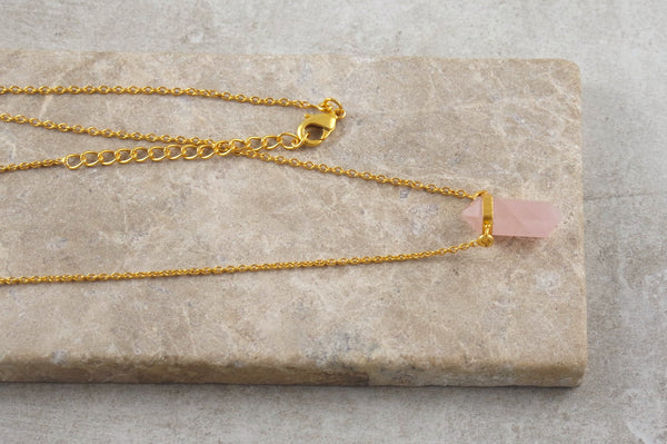 Kedah Rose Quartz Gold Plated Necklace