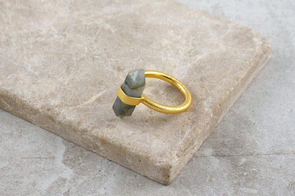 Baru Labradorite Gold Plated Ring