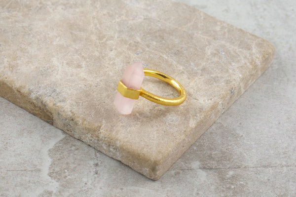 Baru Rose Quartz Gold Plated Ring