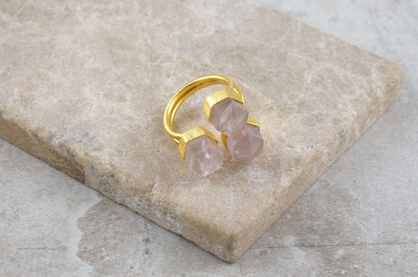Jalan Rose Quartz Gold Plated Ring