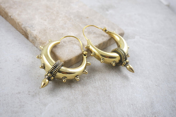 La Paz Medium Brass Spike Earrings