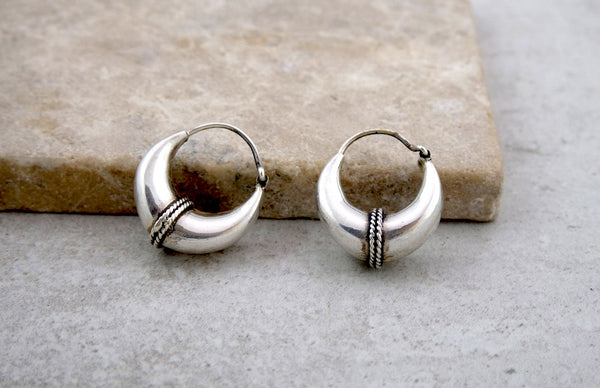Small Decorated Silver Hoop Earrings
