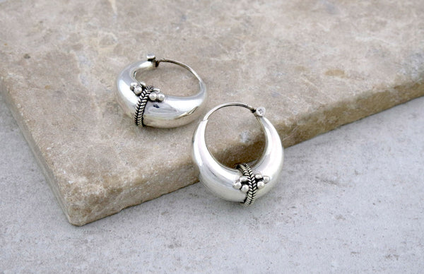 Small Chunky Silver Hoop Earrings