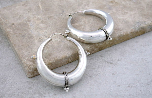 Decorated Silver Hoop Earrings