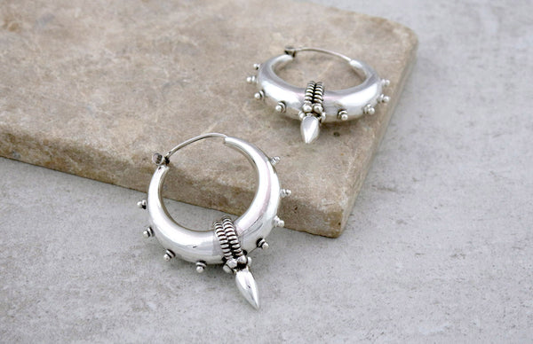 Silver Tribal Spike Earrings