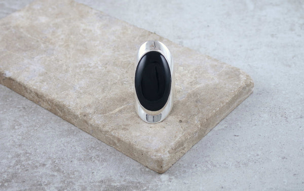 Large Silver Onyx Ring