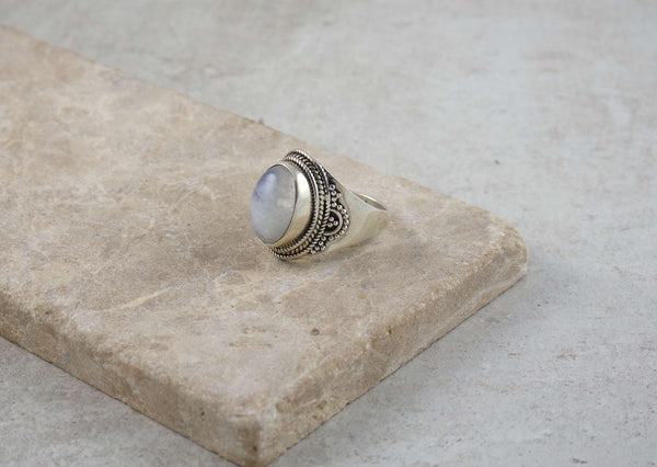 Decorated Silver Moonstone Ring