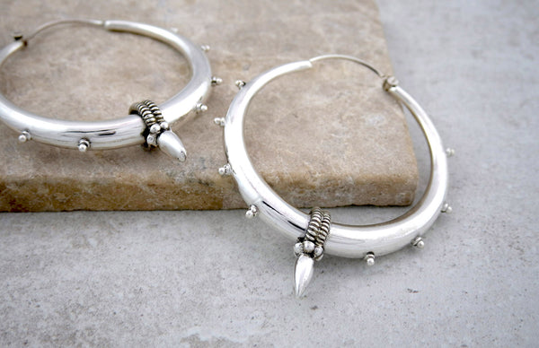 Large Tribal Silver Hoop Earrings