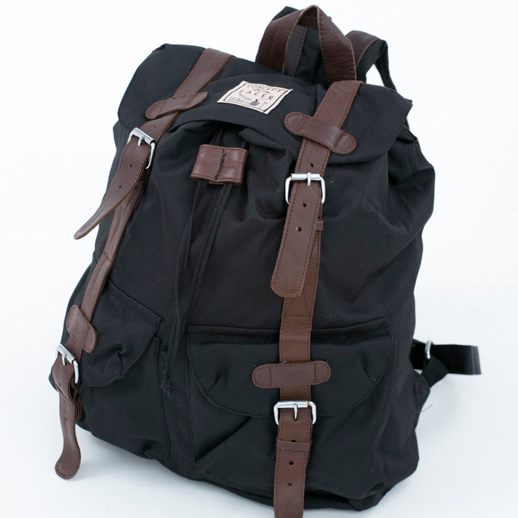 Backpack Black with brown leather - Concept Racer