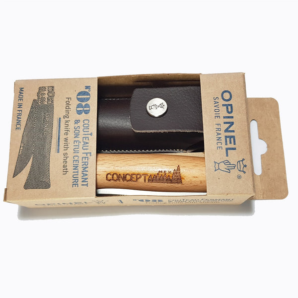 }Concept Racer Opinel pocket knife with leather pouch - Concept Racer
