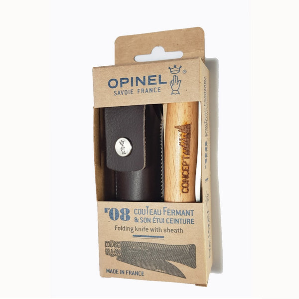 Concept Racer Opinel pocket knife with leather pouch - Concept Racer