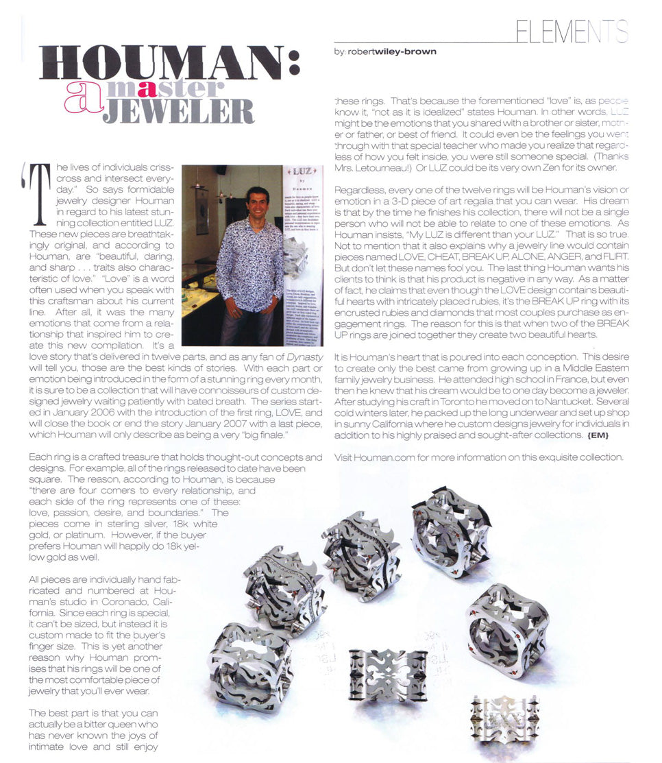 Houman, a Master Jeweler by Envy Magazine