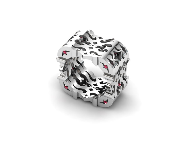 Mens LUZ® ring in sterling silver with rubies - profile view