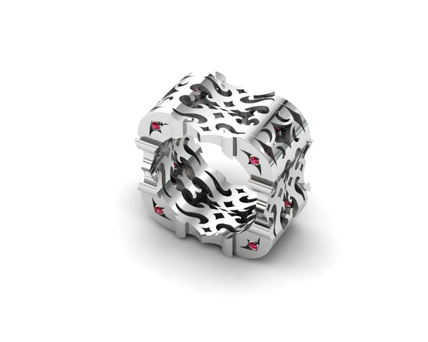Womens LUZ® ring in sterling silver with rubies - profile view