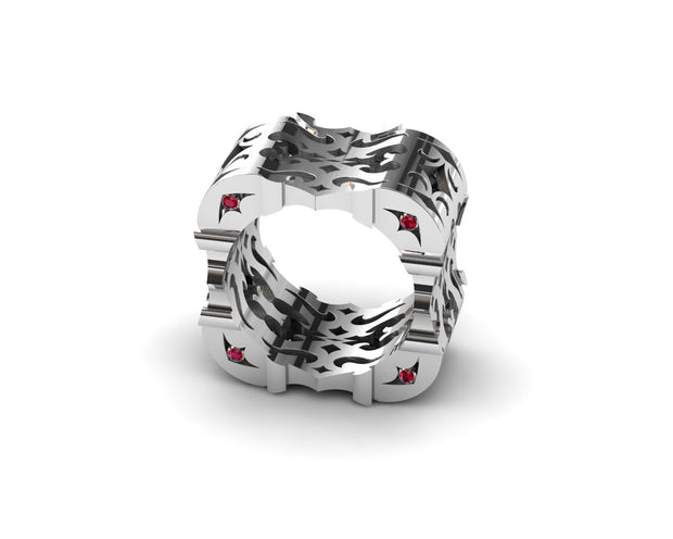 Mens LUZ® ring in sterling silver with rubies - side view