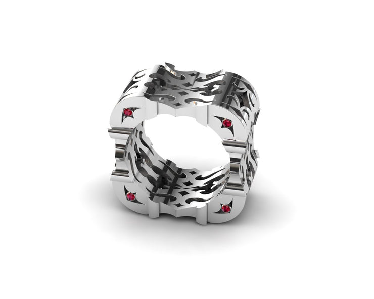 Womens LUZ® ring in sterling silver with rubies - side view