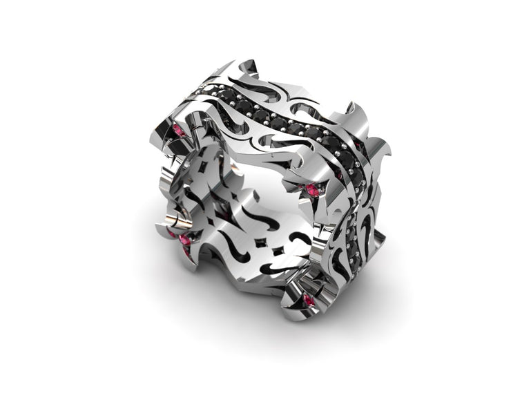 Mens LUZ® ring in sterling silver with black diamonds and rubies - profile view