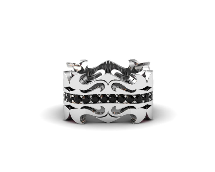 Mens LUZ® ring in sterling silver with black diamonds and rubies - top view