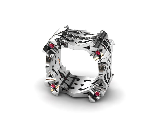 Womens LUZ® ring in sterling silver with black diamonds and rubies - side view