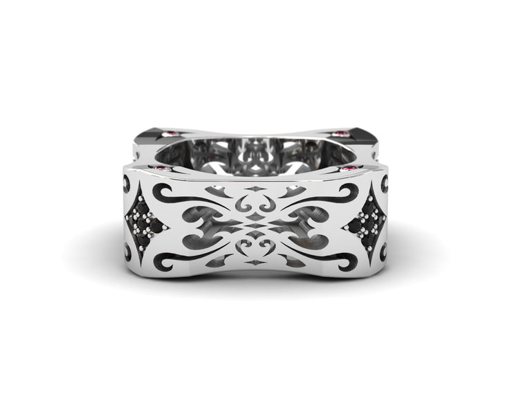 Women's ring in sterling silver & black diamonds from LUZ By Houman. Front view