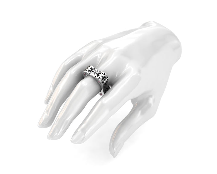 Women's ring in sterling silver & black diamonds from LUZ By Houman. proportion view