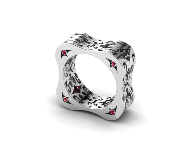 Women's ring in sterling silver & black diamonds from LUZ By Houman. Side view
