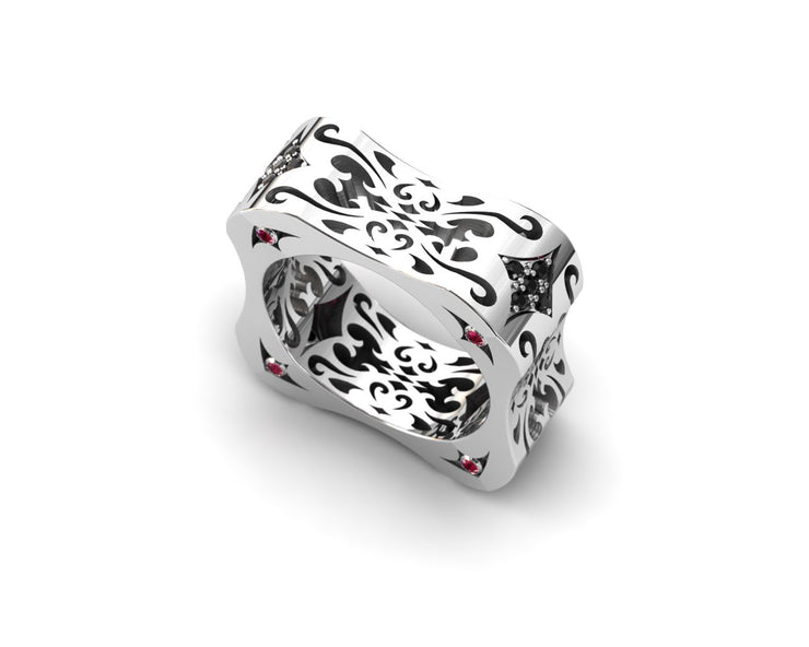 Women's ring in sterling silver & black diamonds from LUZ By Houman. Top view