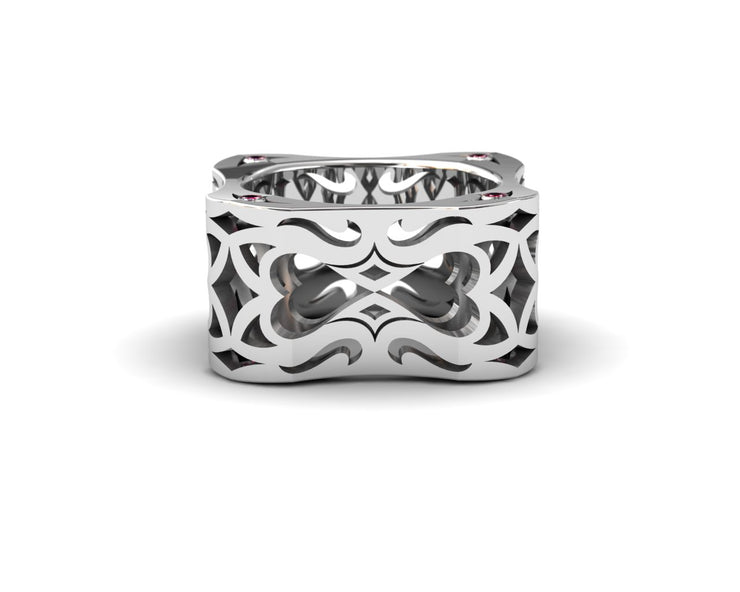 Mens LUZ® ring in sterling silver with rubies - top view
