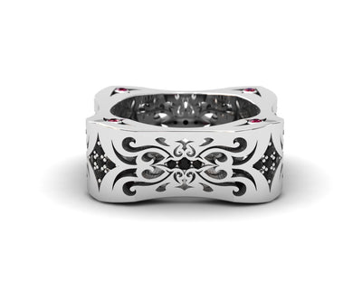 Womens LUZ® ring in sterling silver with black diamonds and rubies - top view