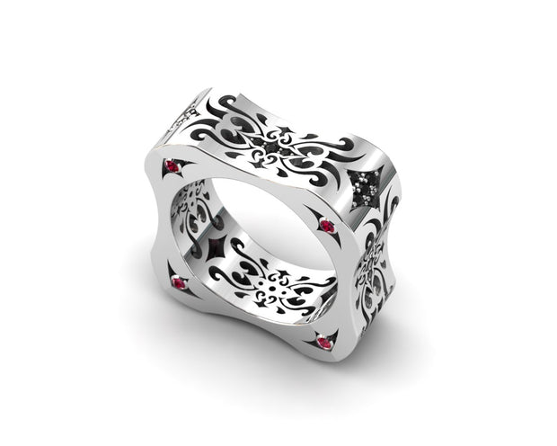 Womens LUZ® ring in sterling silver with black diamonds and rubies - profile view