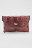 Crocodile-Embossed Clutch (Garnet)