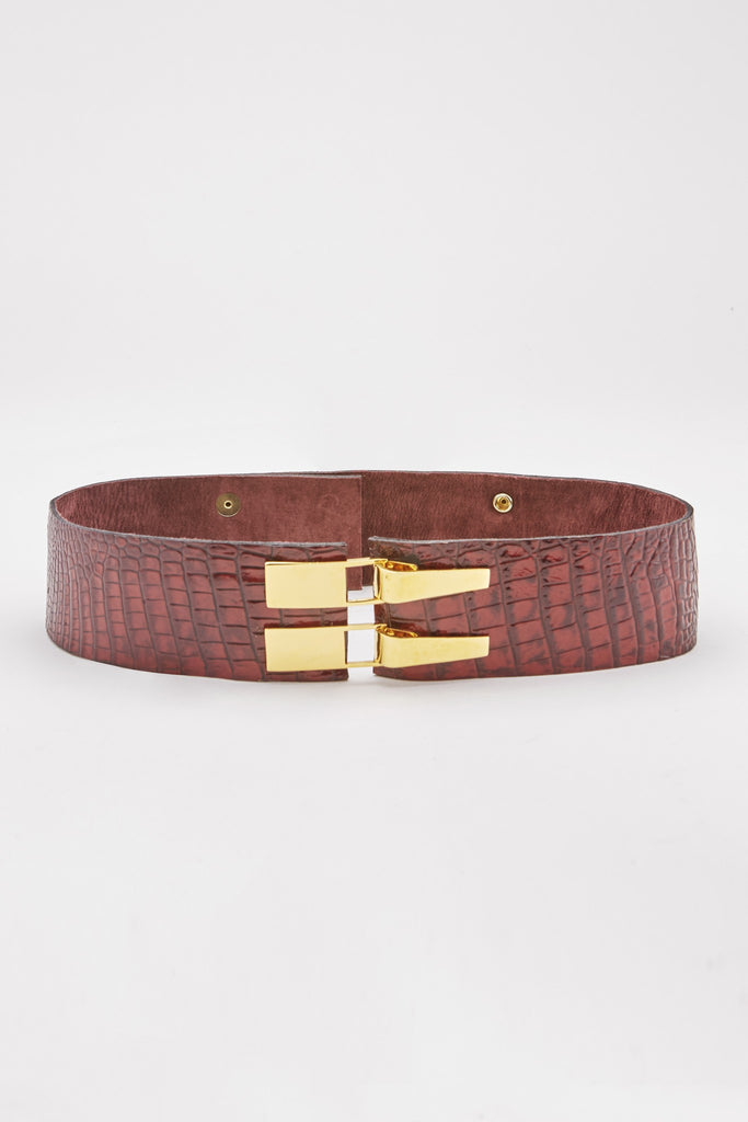 Crocodile-Embossed Double-Buckle Belt (Garnet) Pre-Order