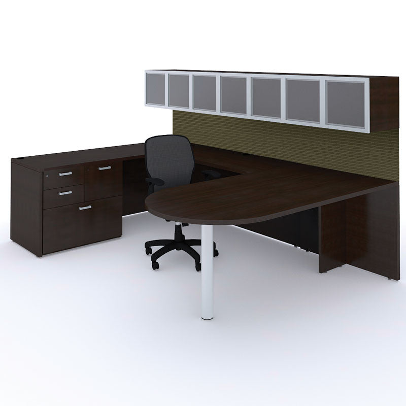 U Shape Bullet Desk with Storage Wall Mount