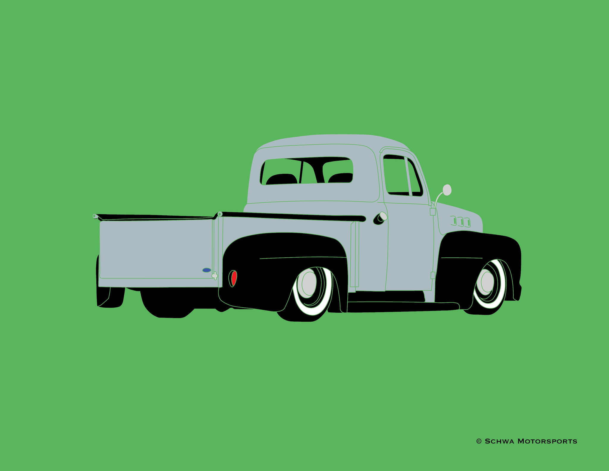 Ford F1 Hotrod Pickup Truck Rear 3/4 Angle Multi Color T-Shirt