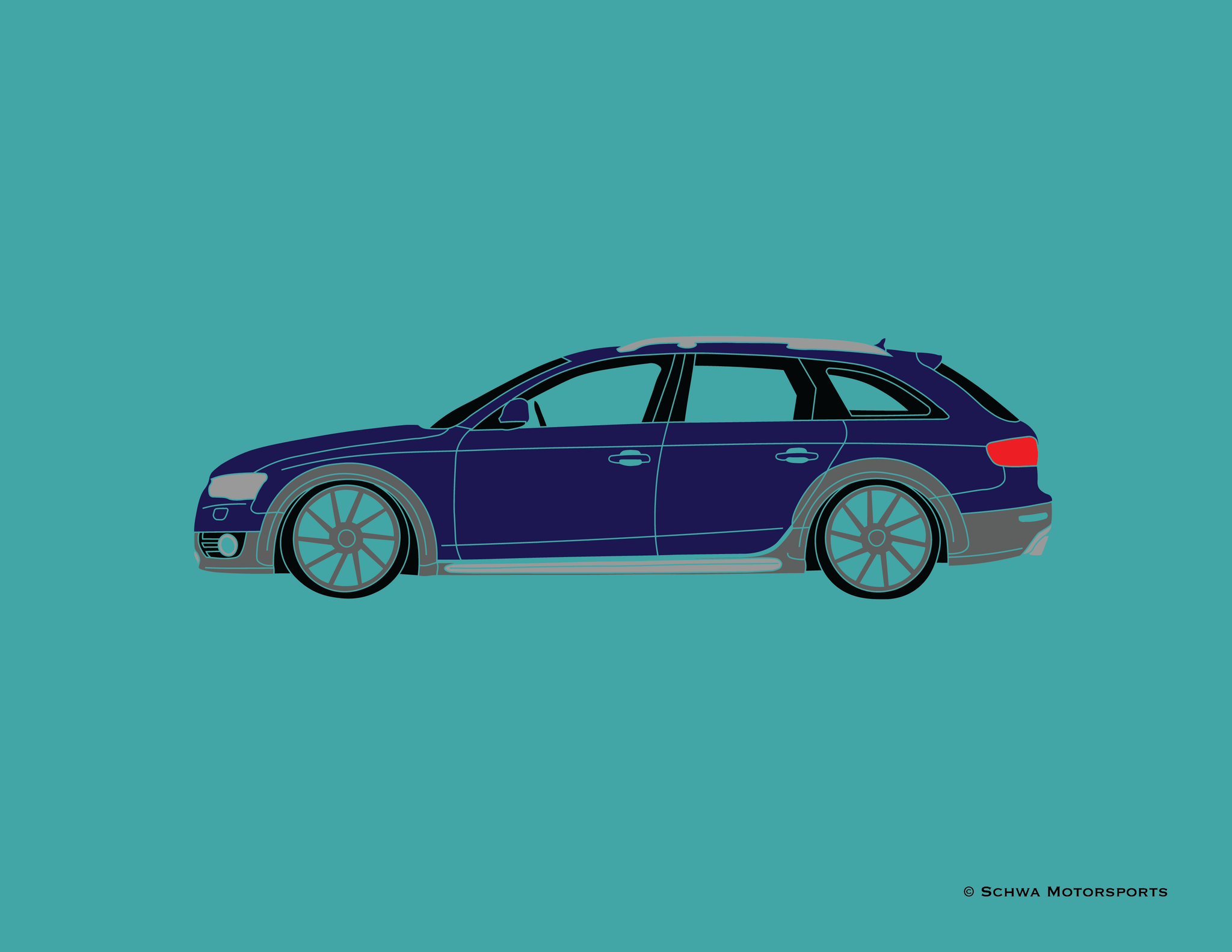 Audi Allroad Side View Multi Color T-Shirt