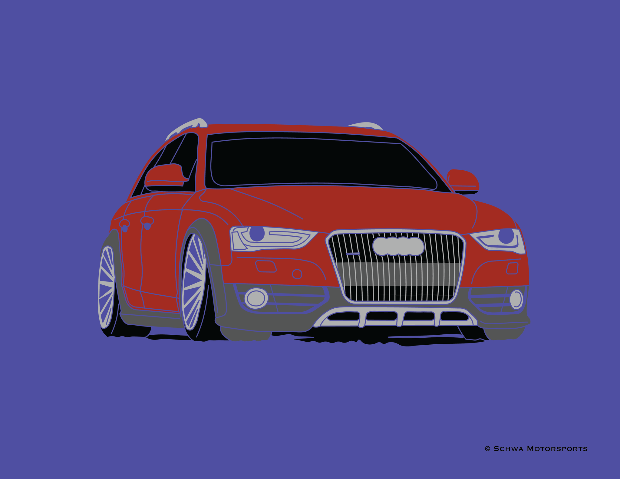 Audi Allroad Front 3/4 View Multi Color T-Shirt
