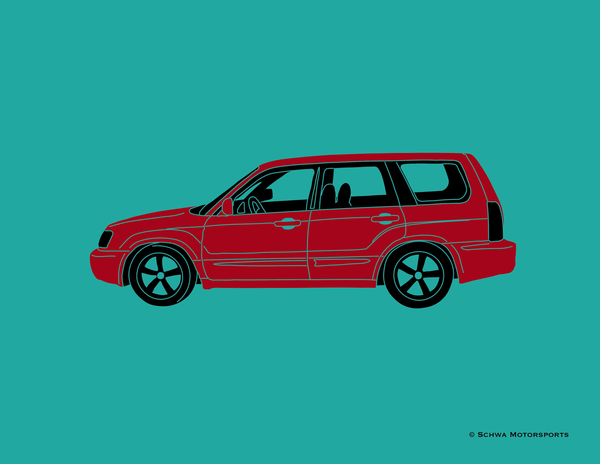 Subaru Forester Side View Multi Color T-Shirt