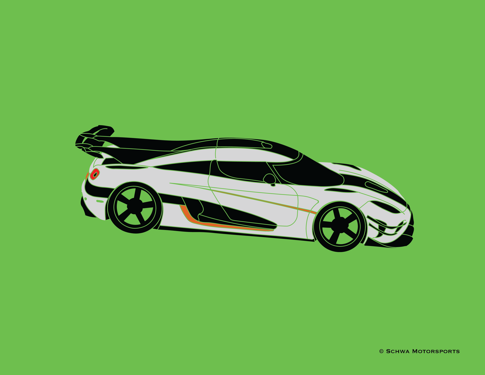 Koenigsegg One:1 Upper Side View Multi Color T-Shirt