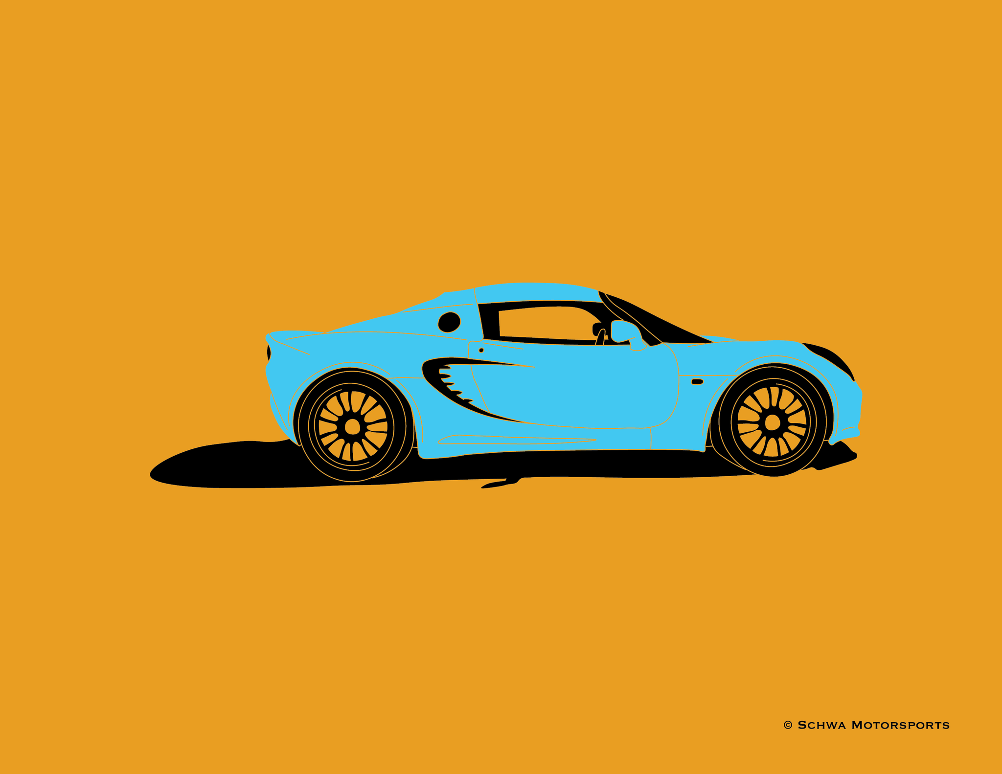 Lotus Elise Side View Multi Color T-Shirt