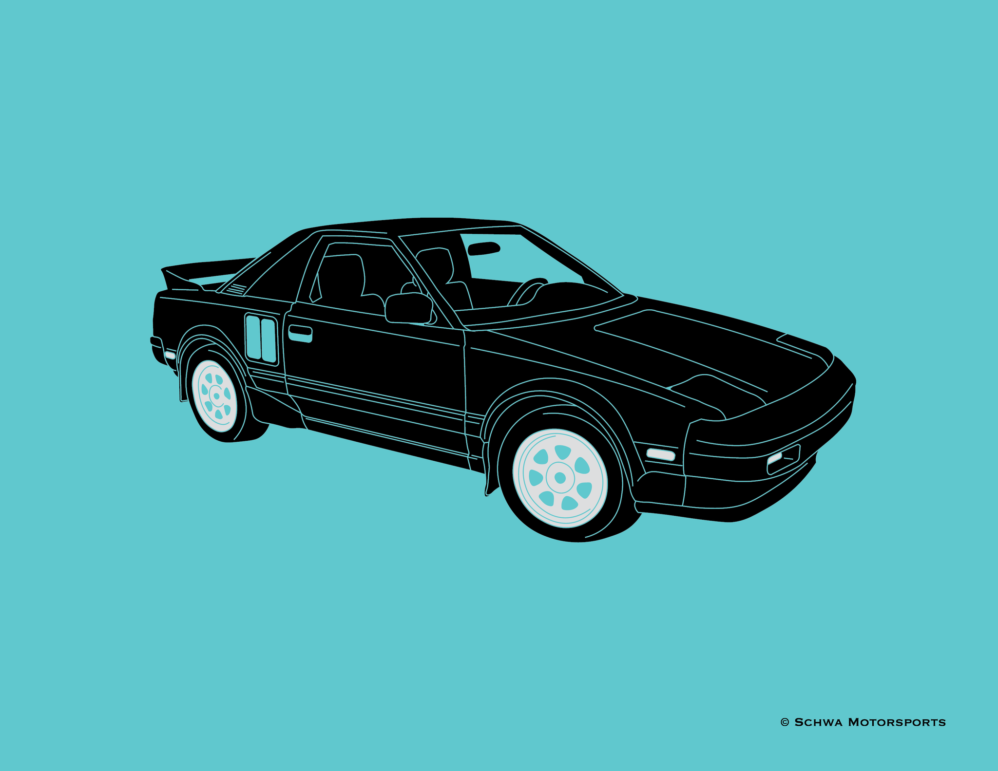 Toyota MR2 Front 3/4 Angle Multi Color T-Shirt