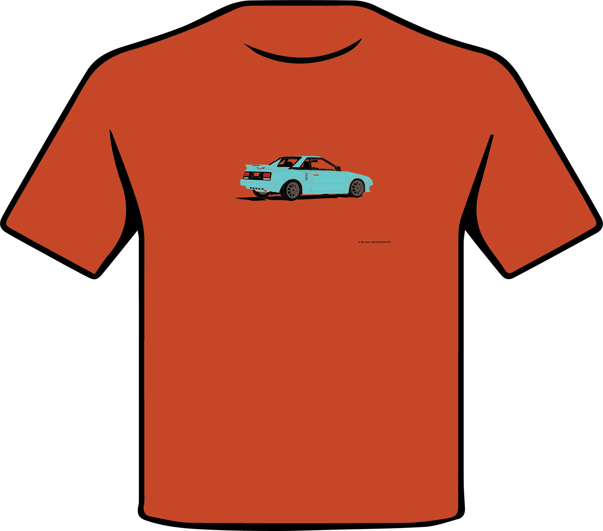 Toyota MR2 Rear 3/4 Angle Multi Color T-Shirt