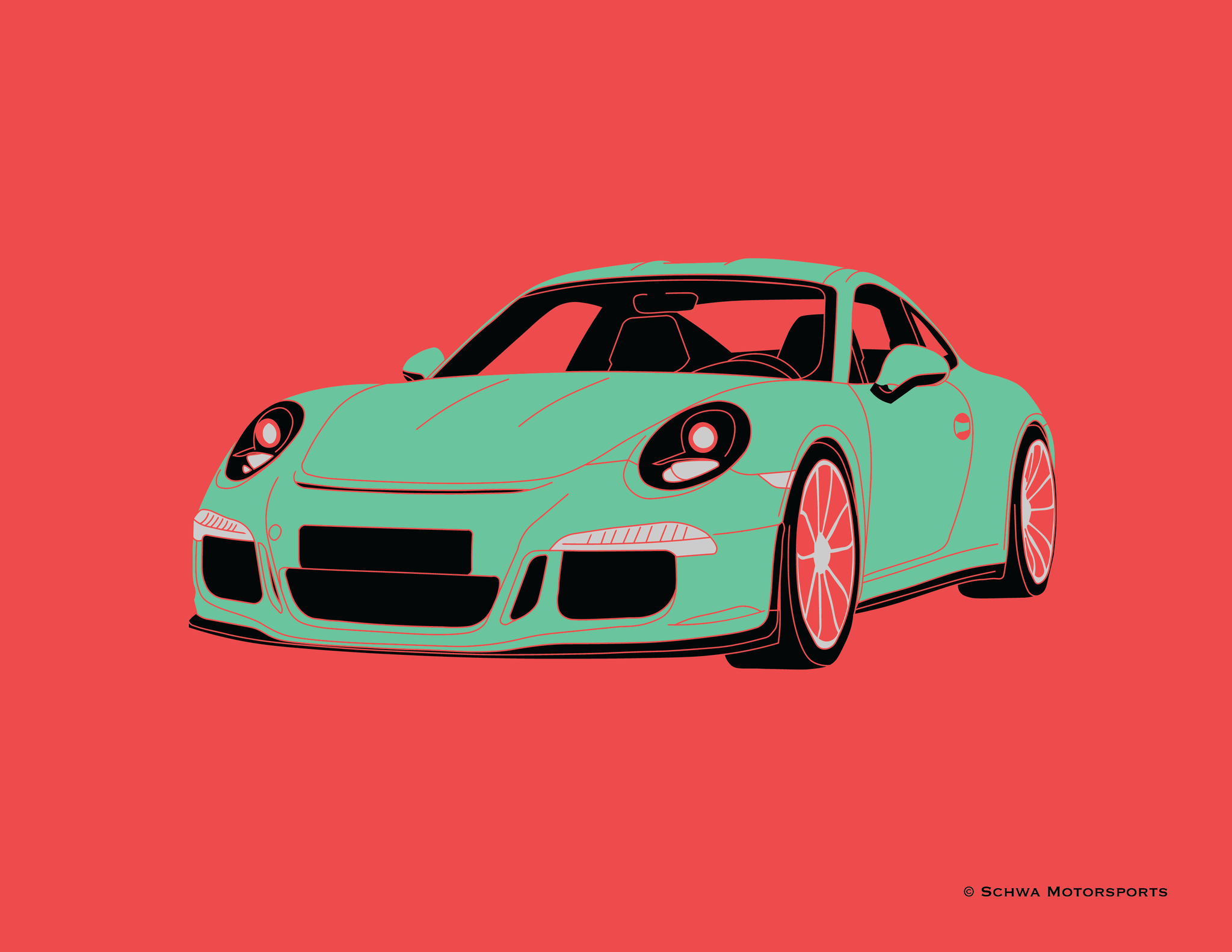 Porsche 911 Front 3/4 Angle Multi Color T-Shirt