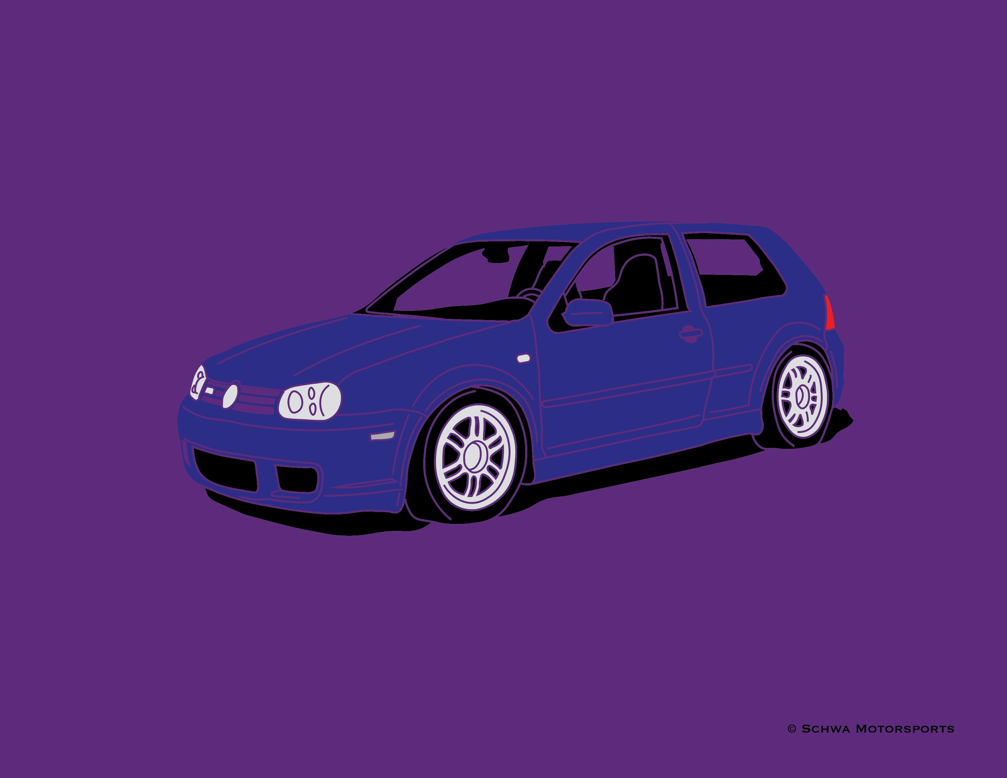 Volkswagen R32 Front 3/4 Angle Multi Color T-Shirt