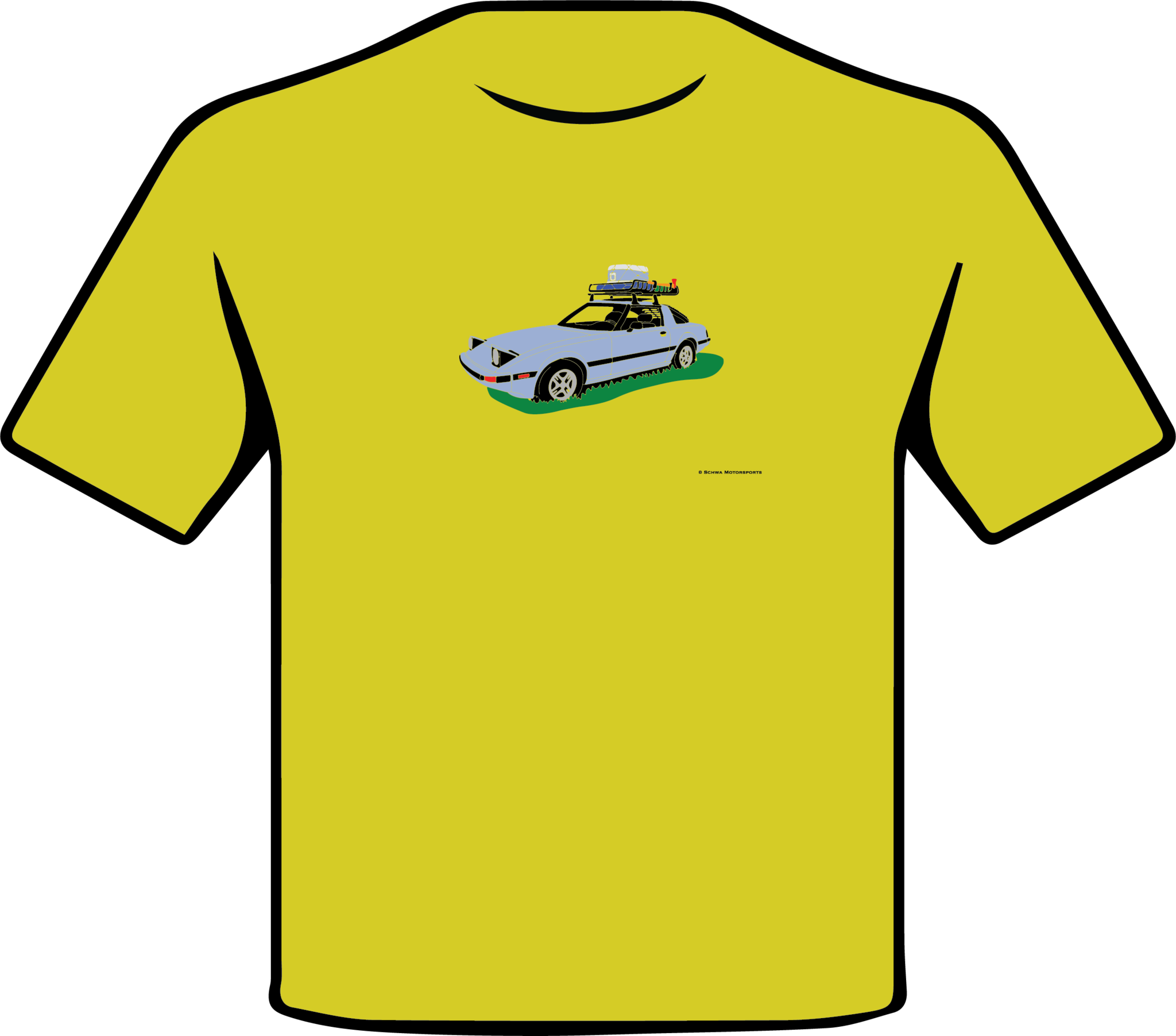 Mazda RX7 Front 3/4 Angle with Roof Rack Multi Color T-Shirt