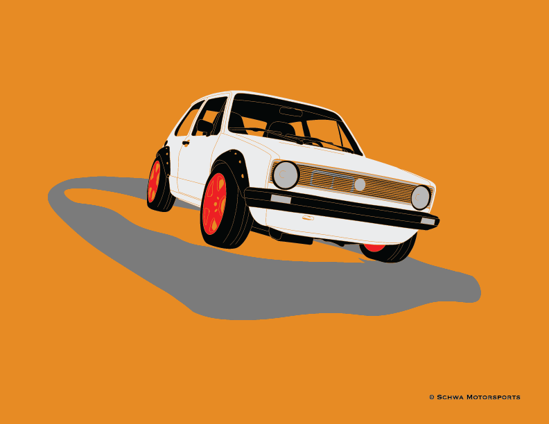 Volkswagen MK1 Rabbit Front 3/4 Angle Multi Color T-Shirt