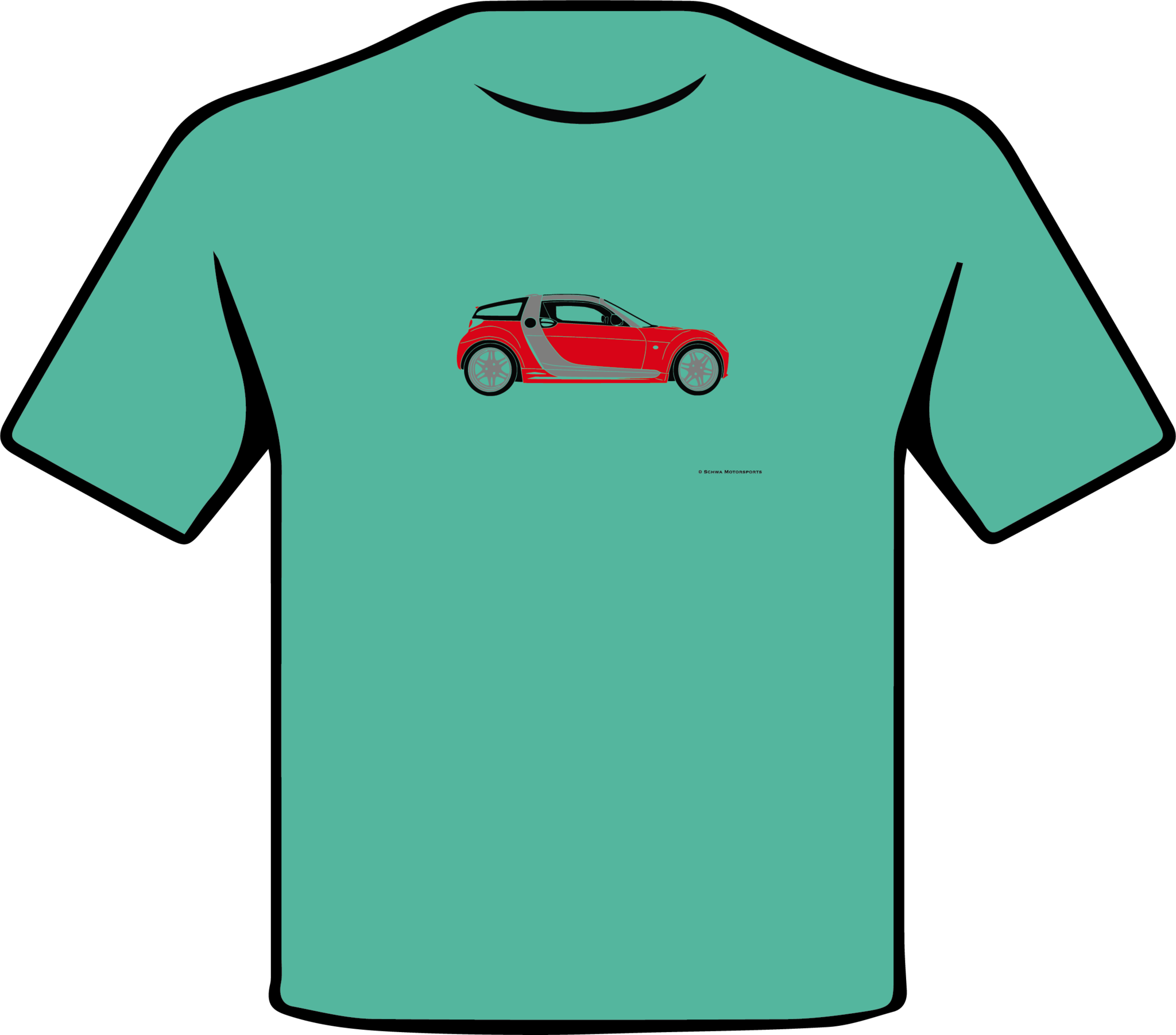 Smart Roadster Side View Multi Color T-Shirt