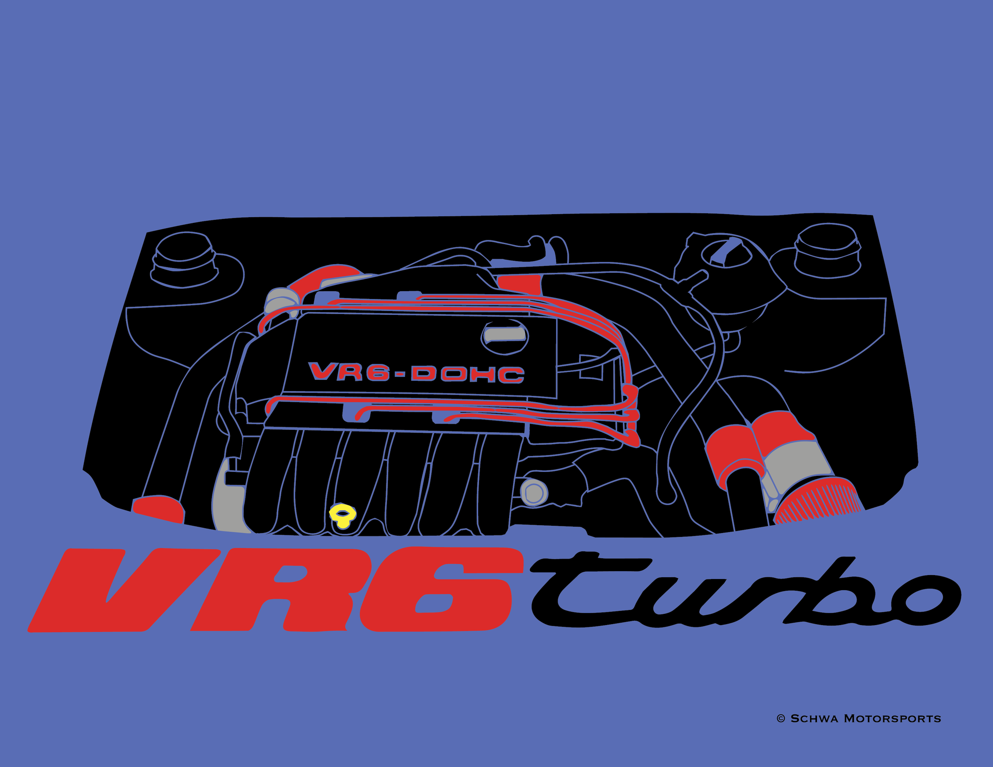 VR6 Turbo Engine Bay Multi Color T-Shirt